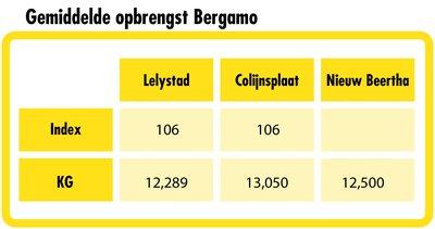 Gemiddelde opbrengst Bergamo