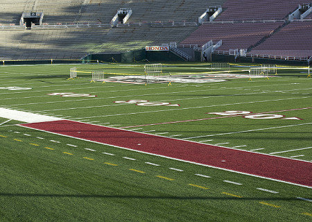 Close up of the Rose Bowl Field