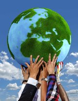 Wereld en gras